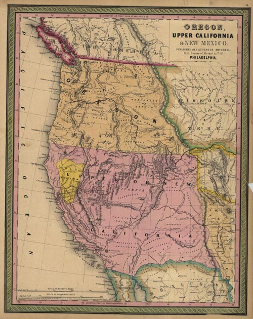 1846 Map Of The Texas California Oregon And Adjoining Regions Map Of The Mormon Battalion 1846 1847 March