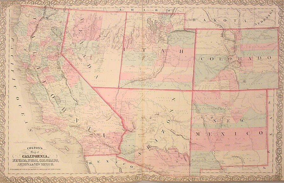 1859 Map Of The States Of California The Territories Of Oregon Washington Utah And New Mexico 1860 Map Of The Southwest