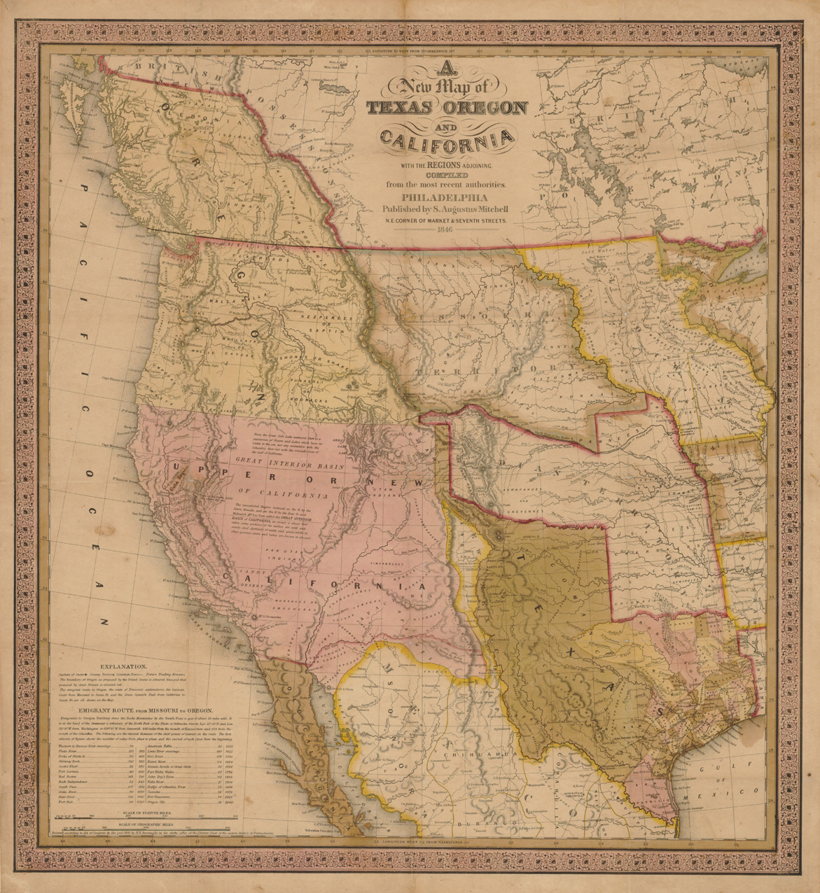1846 Map Of The Texas California Oregon And Adjoining Regions
