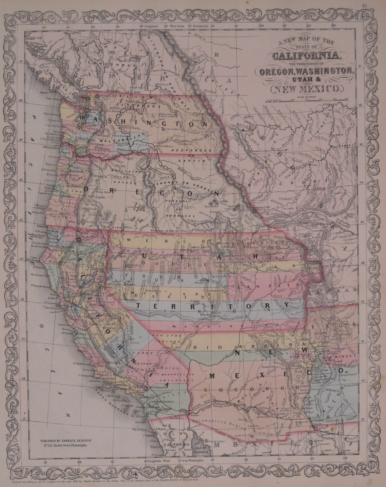 1854 Map Of The Western Us Territories