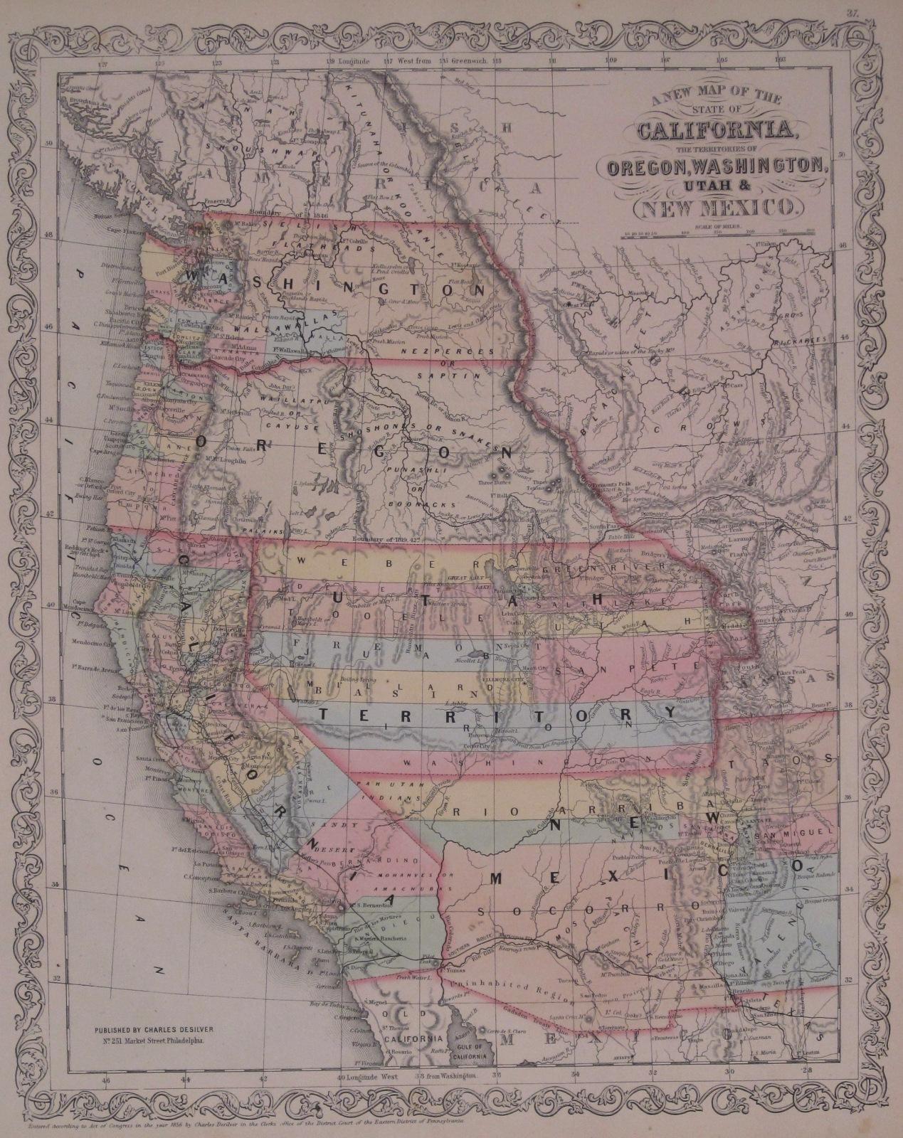 Map Of Arizona 1858.Washington County Maps And Charts