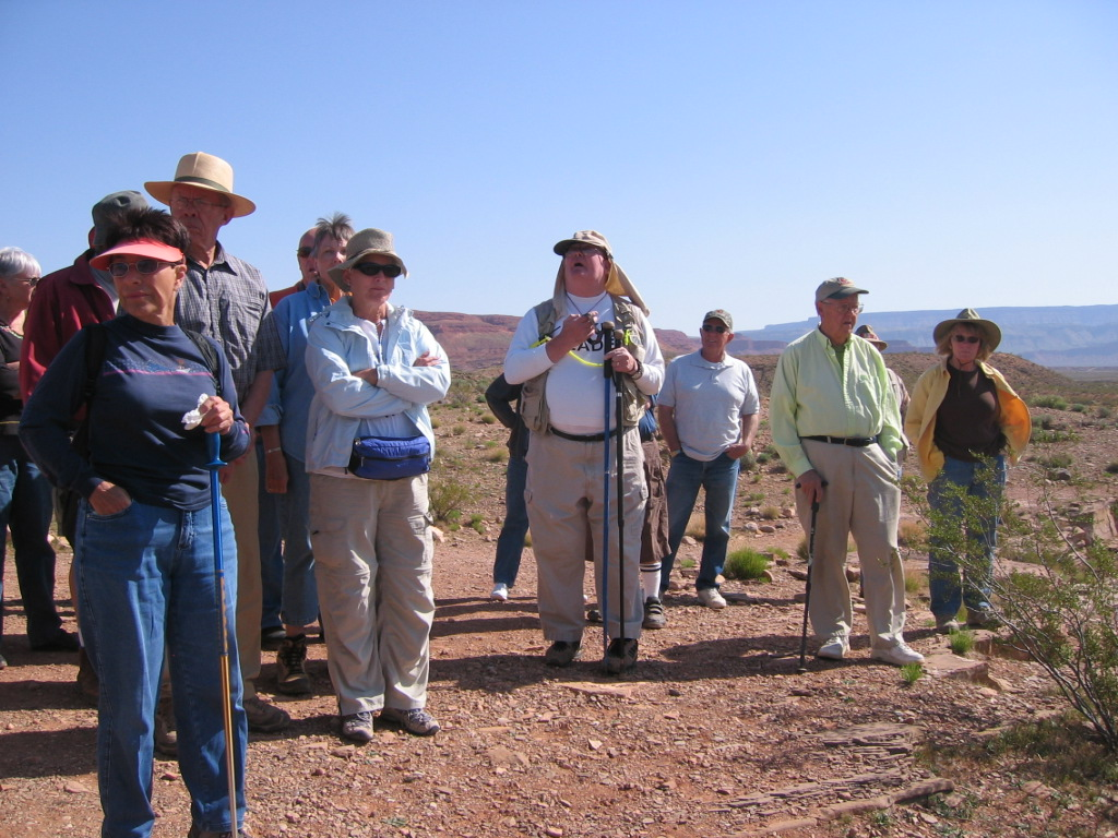 Ranger Bart speaking to a group at Fort Pearce