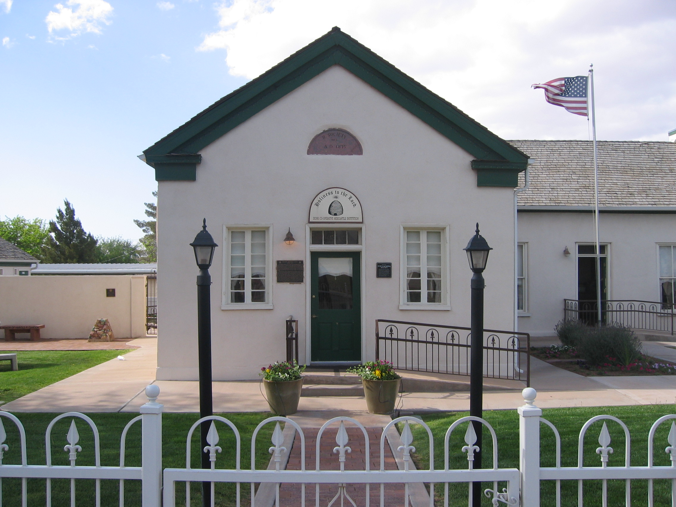 Front view of the Washington Relief Society house