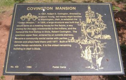 Plaque in front of the Covington Mansion