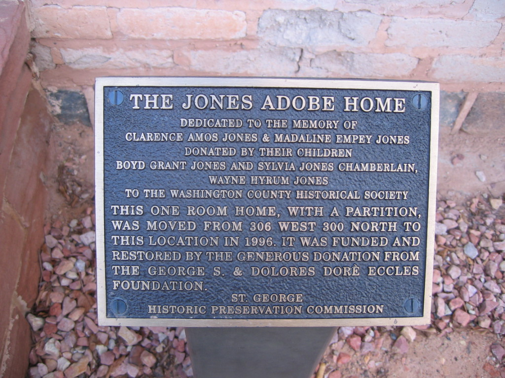 Plaque in front of the Jones Adobe home