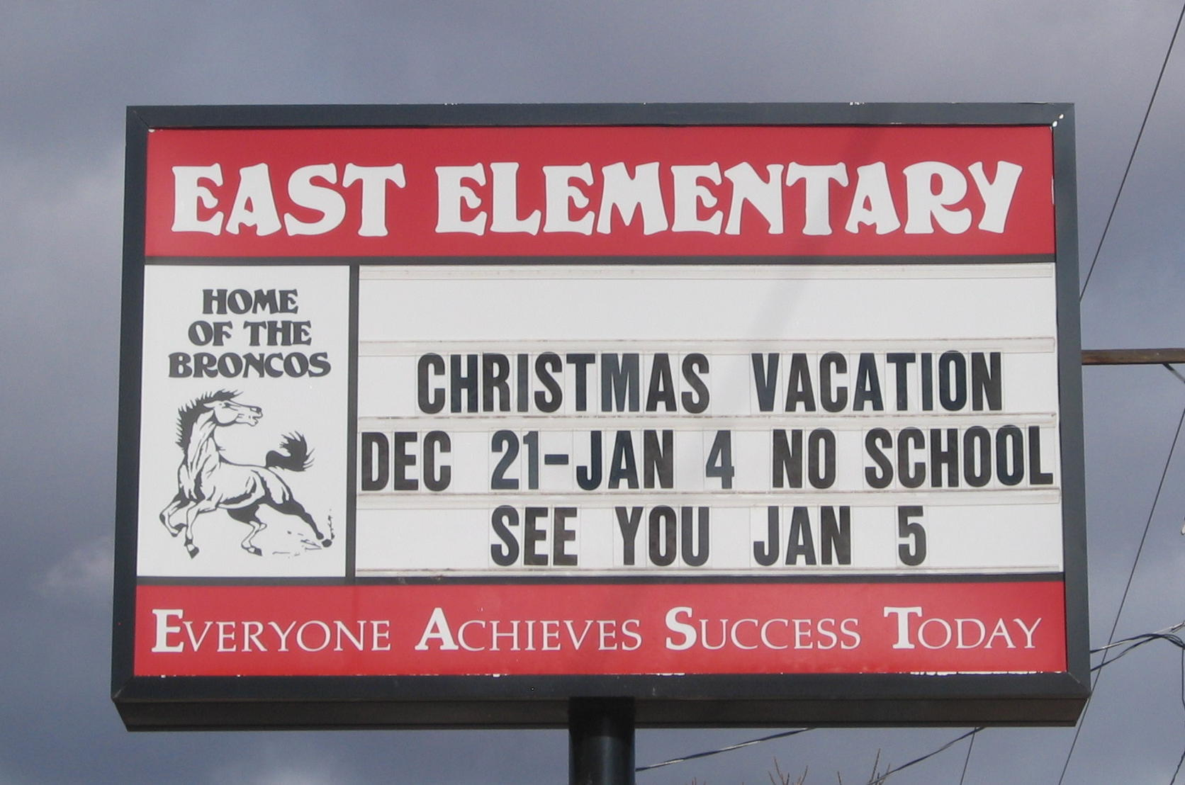 WCHS-00533 East Elementary School Sign