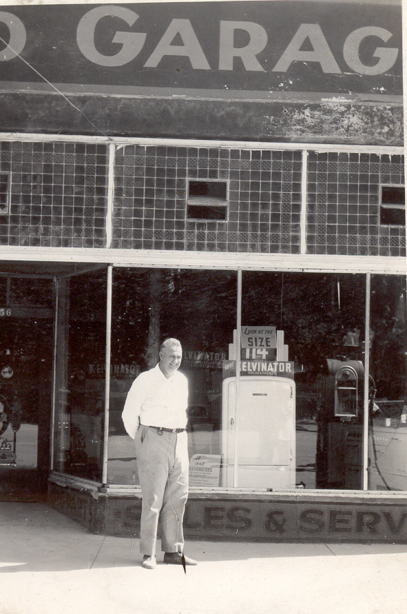 Melvin Cox in front of the Arrowhead Garage