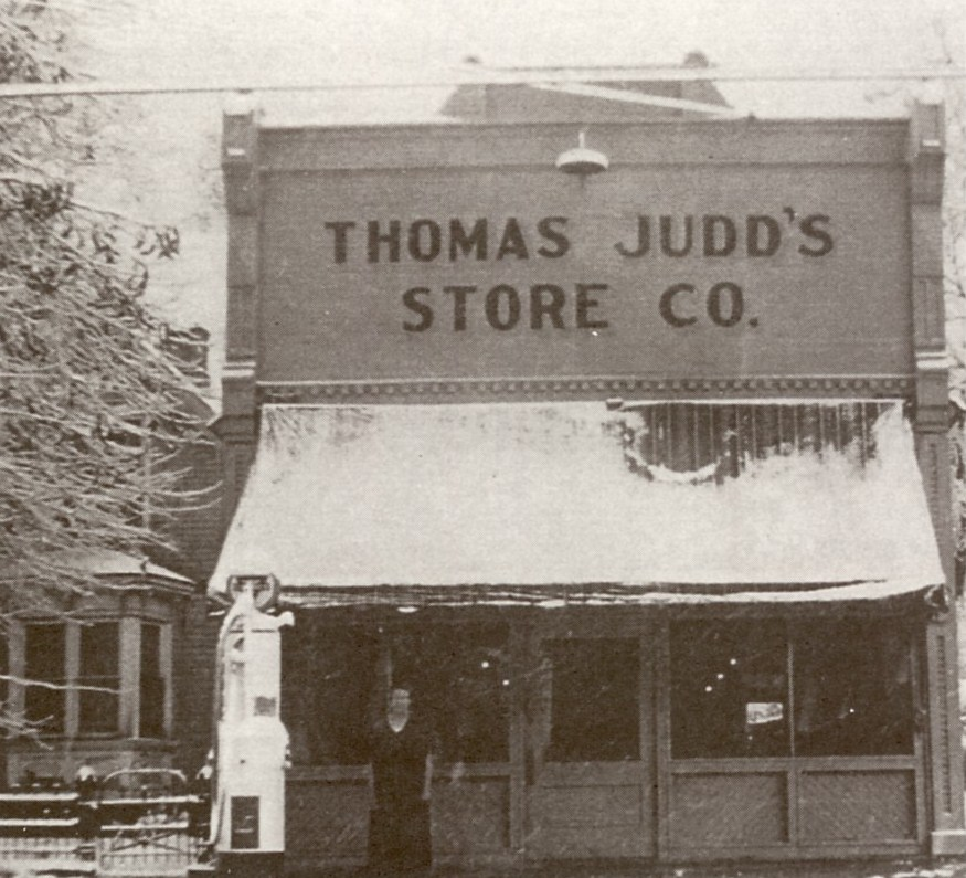 Thomas Judd's Store with a gas pump out in front