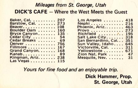 Back of the Dick's Cafe business card