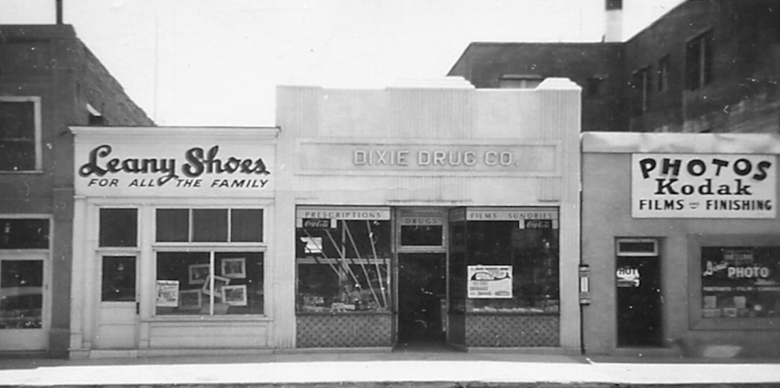 Leany Shoes, Dixie Drug, and Dixie Photo stores