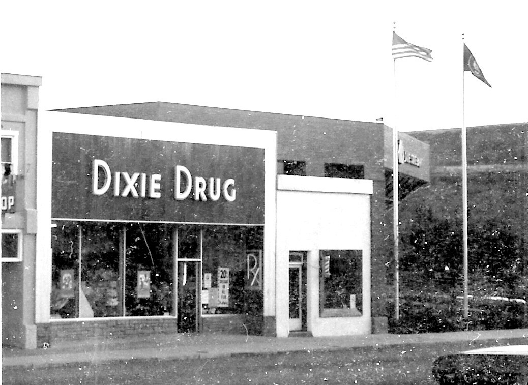 Dixie Drug store and a barber shop
