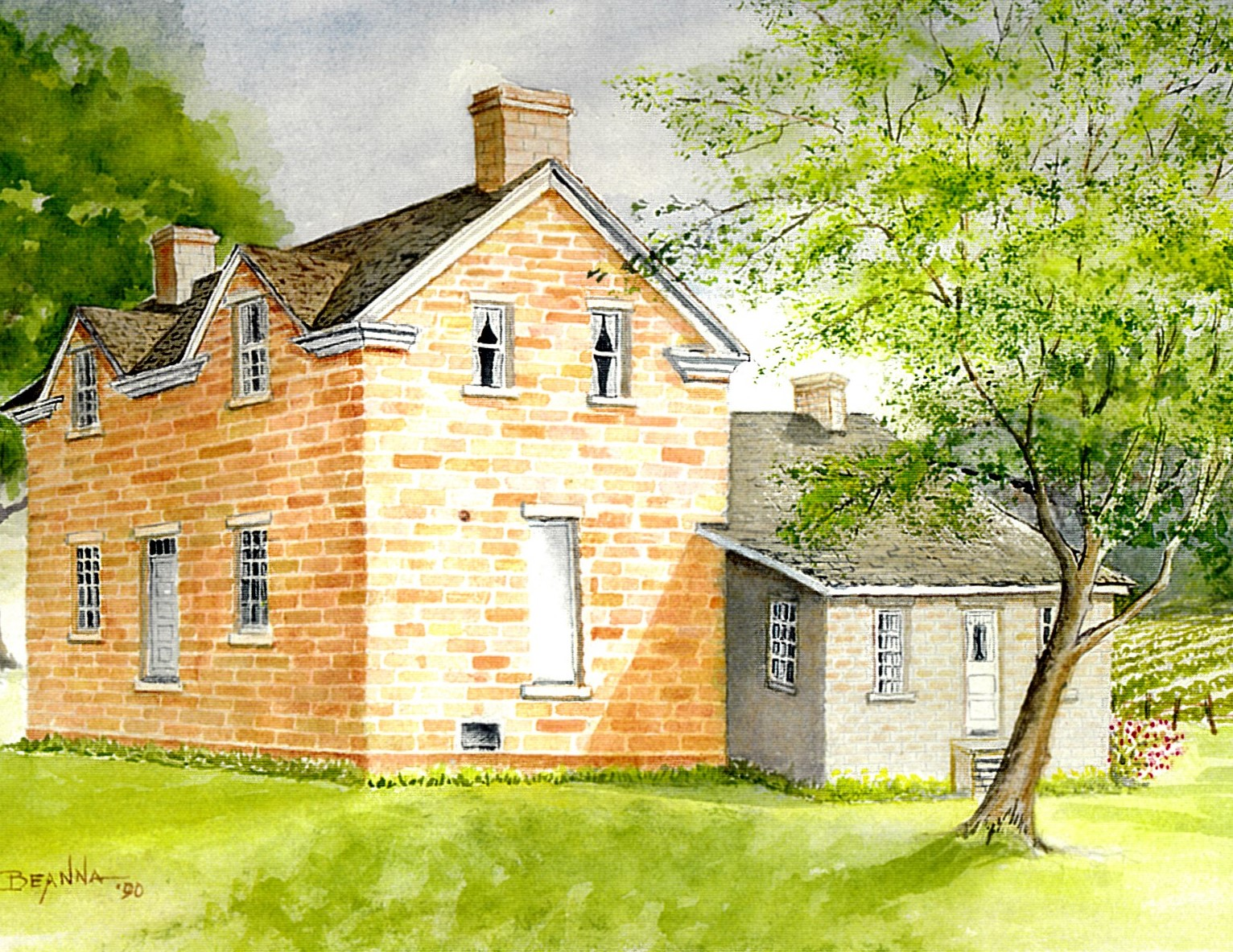 Watercolor painting of the Peter Neilson, Jr. Home