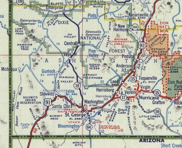 Map Of Arizona Utah Border.Highway 91 Washington County Ut